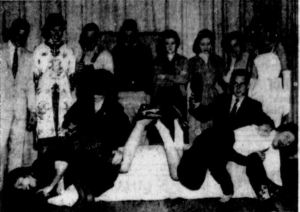 Damsels in Distress at Boiling Springs High School, North Carolina, on November 21, 1959: Sylvia Robertson spanks Harriette Cantrell, and Jon Poteat spanks Janice Campbell.