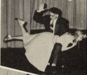 Carol Frakes as Dotty is spanked in the senior play at St Mary's-Colgan High School, Pittsburg, Kansas, on April 3 and 4, 1951
