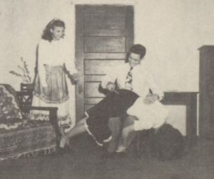 Floydene Jones is spanked by Vance Hunt in a 1948 production at Dodson High School, Texas