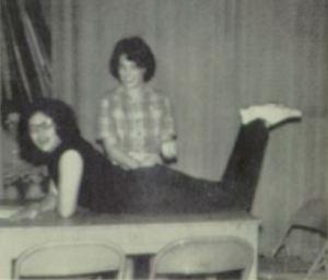 Lynne Edson smacks Elaine Yost in the 1964-65 production at Benton High School, Pennsylvania