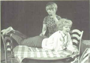 Connie McJunkin (upright) and Judi Rosamond (prone) at Springdale High School, Arizona, in the school year 1965-66
