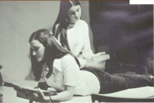 That's about to be an 'Ouch!' from Robin Gehri as Teresa Carson smacks her hard in the 1970-71 production at Federal Way High School, Washington State