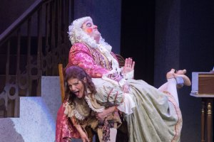 Sharin Apostolou is spanked by Charles Turley in the 2014 production at Wichita Grand Opera