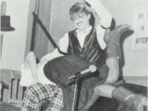November 1982: Melinda Weber gets a spanking from Mike Wenger at Maple Valley High School, Iowa