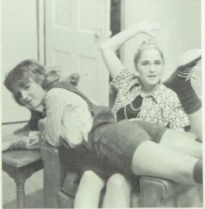 Debbie Coston makes Zena Franklin's hotpants hotter at House High School, New Mexico, in 1975-76