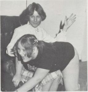 Karla Holley is spanked by Brenda Head in the 1979-80 production at Tyrone High School, Oklahoma