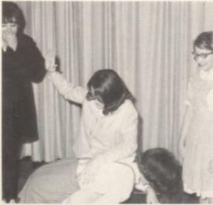 Oklahoma, 1966: Teresa Norman spanks Joyce File at Fargo High