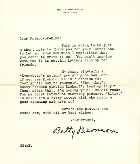 Ritzy fan letter